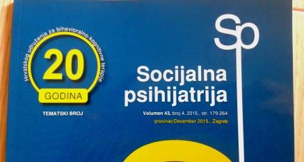 """Tematski broj časopisa """"Socijalna psihijatrija"""" povodom 20. obljetnice HUBIKOT-a"""